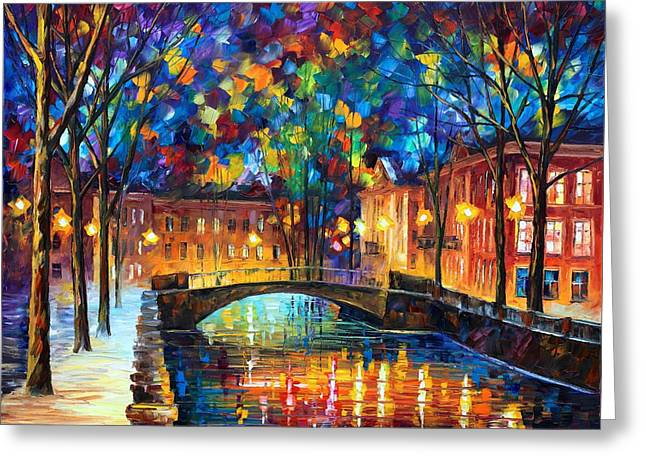 City Bridge Greeting Card by Leonid Afremov