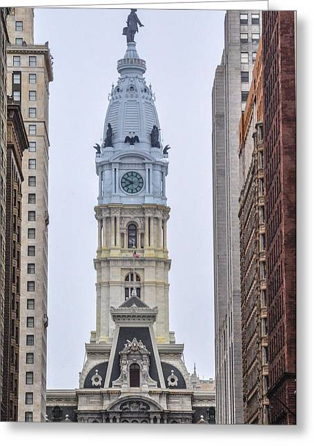 City Hall Tower - Philadelphia Greeting Card by Bill Cannon