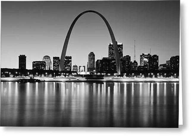 City Lit Up At Night, Gateway Arch Greeting Card