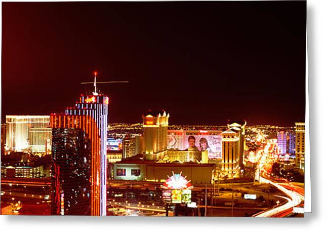City Lit Up At Night, Las Vegas Greeting Card by Panoramic Images