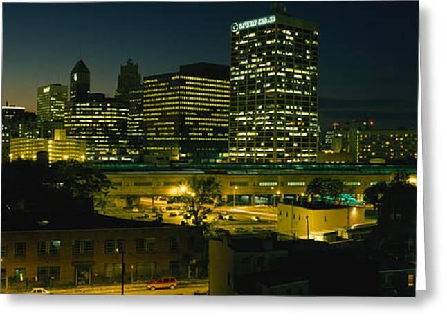 City Lit Up At Night, Newark, New Greeting Card