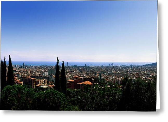 City Viewed From Park Guell, Barcelona Greeting Card by Panoramic Images