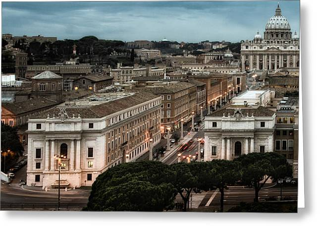 Cityscape In Rome Greeting Card by Celso Diniz