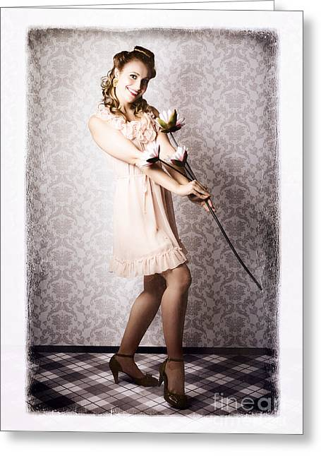 Classic 60s Pinup Beauty Holding Ornate Flower Greeting Card by Jorgo Photography - Wall Art Gallery