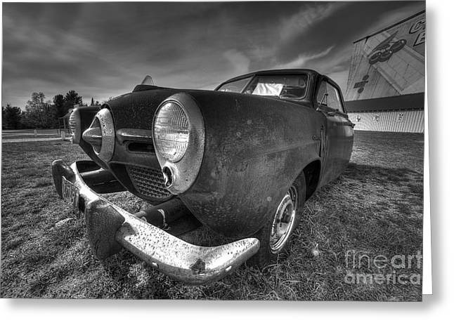 Classic Car At The Drive In Greeting Card by Twenty Two North Photography
