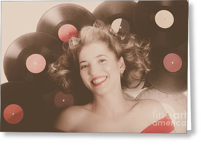 Classic Pin Up Girl On Vintage Vinyl Lp Records Greeting Card by Jorgo Photography - Wall Art Gallery