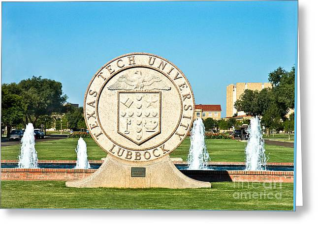 Greeting Card featuring the photograph Classical Image Of The Texas Tech University Seal  by Mae Wertz