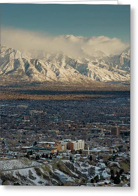 Clean Air From Ensign Peak Area Looking Greeting Card by Howie Garber