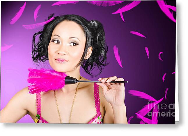 Cleaning Lady Maid Dusting With Feather Duster Greeting Card by Jorgo Photography - Wall Art Gallery