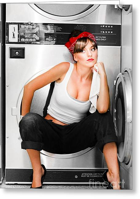 Cleaning Lady With A Dream Greeting Card by Jorgo Photography - Wall Art Gallery
