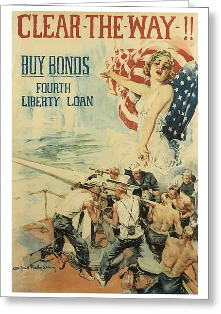 Clear The Way Vintage World War 1 Art Greeting Card by Presented By American Classic Art