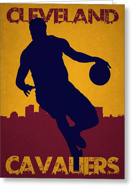 Cleveland Cavaliers Lebron James Greeting Card by Joe Hamilton