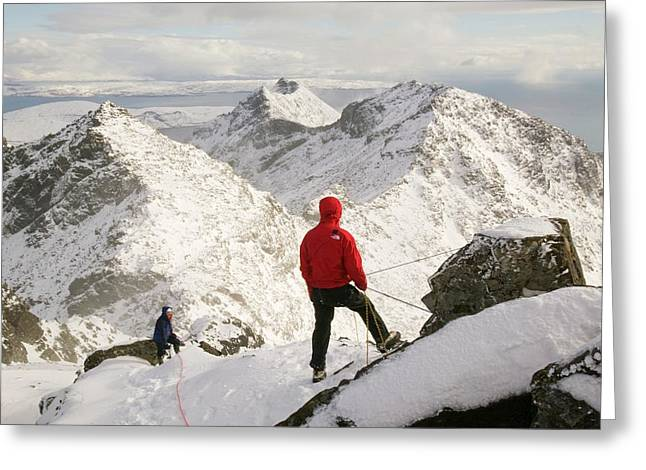 Climber On Sgurr Alasdair Greeting Card by Ashley Cooper