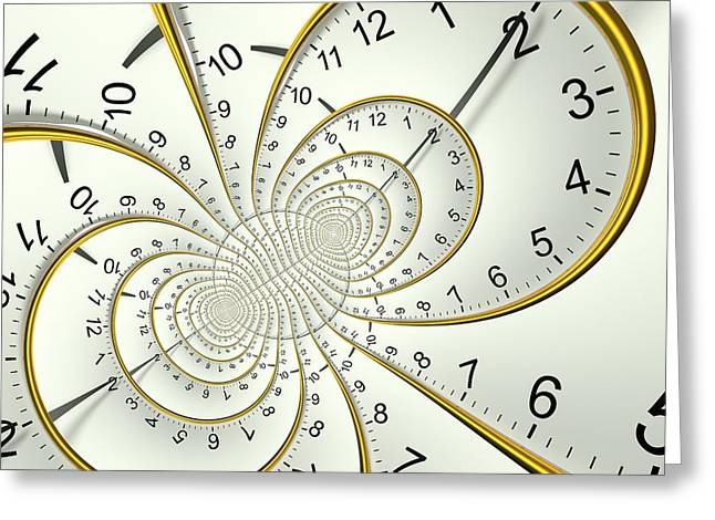 Clockface Spacetime Warp Greeting Card by David Parker