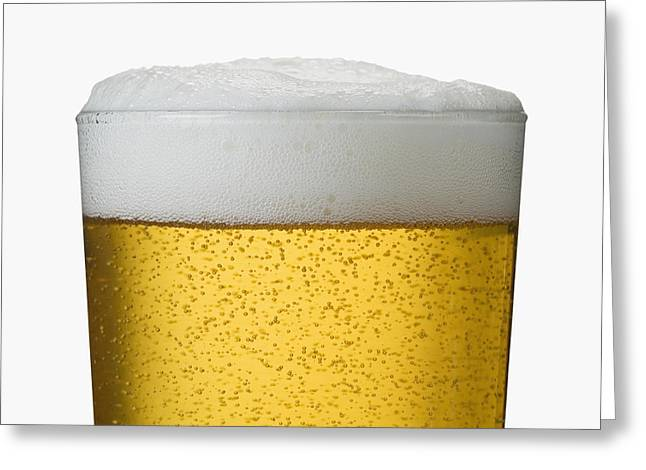 Close-up Detail Of Beer In Wet Glass Greeting Card by Bruno Crescia
