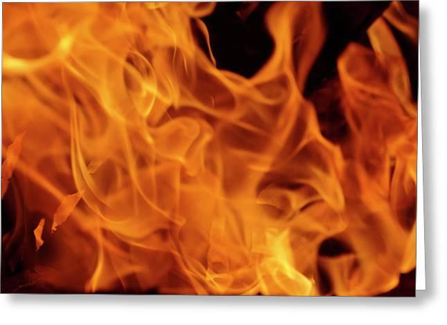 Close-up Of Fire Flames, Jodhpur, India Greeting Card by Adam Jones