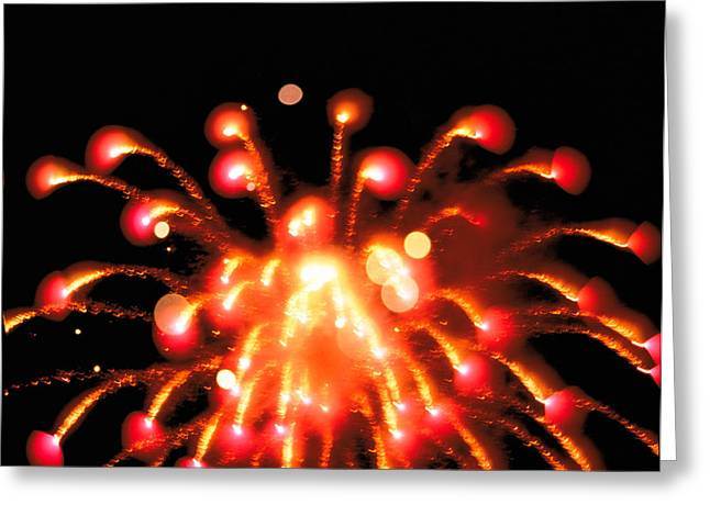Close Up Of Ignited Fireworks Greeting Card by Panoramic Images