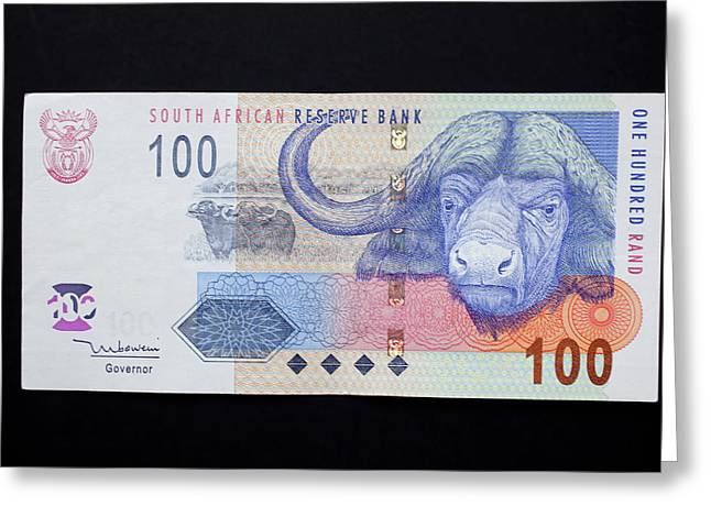 Close-up Of South African Rand Paper Greeting Card
