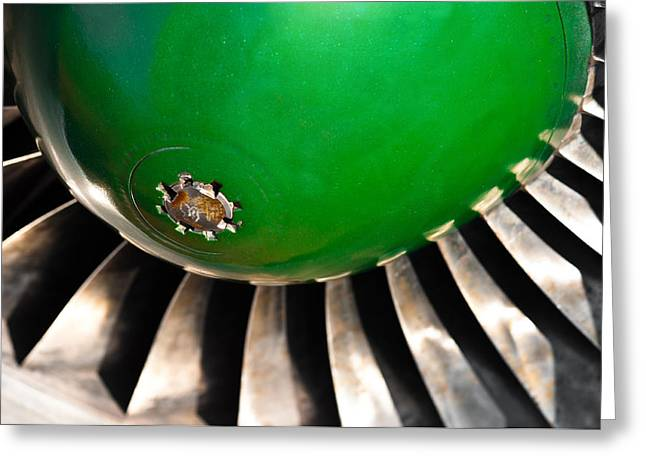 Closeup Of A Jet Turbine Engine Greeting Card by Oliver Sved
