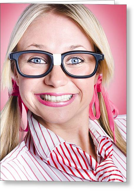 Closeup Portrait Of A Happy Female Office Worker  Greeting Card by Jorgo Photography - Wall Art Gallery