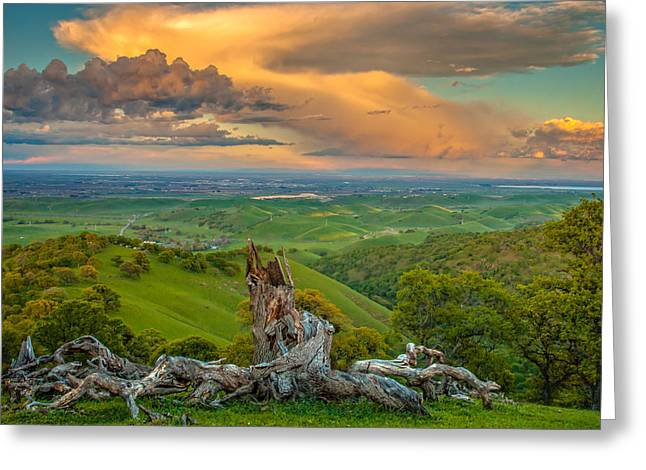 Clouds Over Central Valley At Sunset Greeting Card
