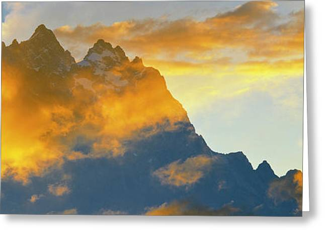Clouds Over Mountain Range, Teton Greeting Card by Panoramic Images