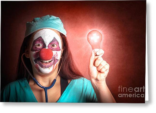 Clown Doctor Holding Red Emergency Lightbulb Greeting Card by Jorgo Photography - Wall Art Gallery