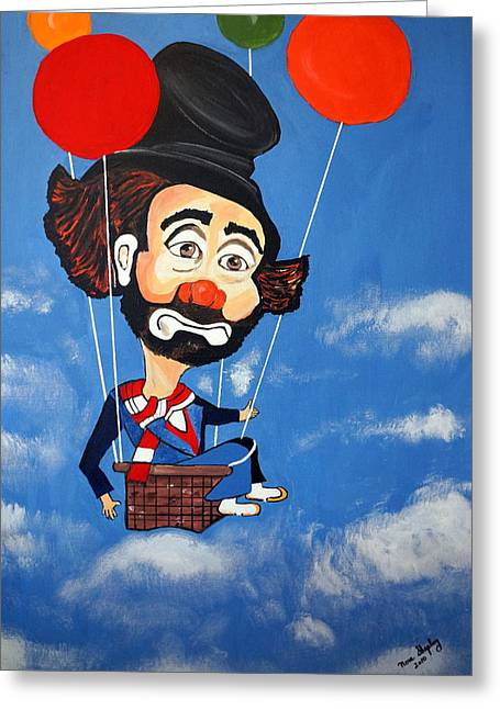 Greeting Card featuring the painting Clown Up Up And Away by Nora Shepley