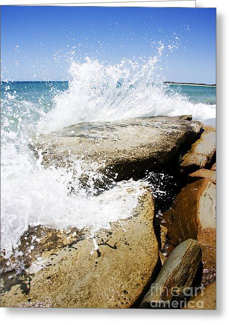 Coastal Collision Greeting Card by Jorgo Photography - Wall Art Gallery