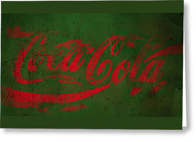 Coca Cola Grunge Red Green Greeting Card by John Stephens