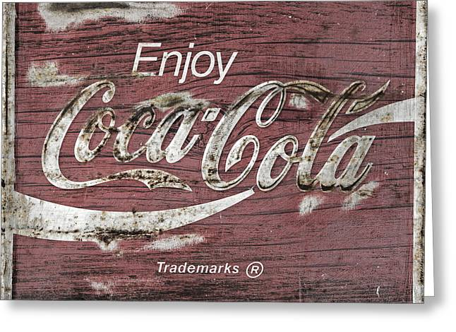 Coca Cola Pink Grunge Sign Greeting Card by John Stephens