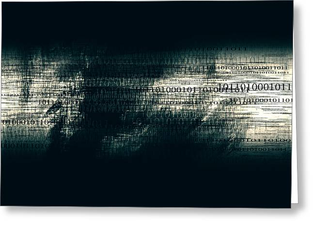 Binary Code - Dark Abstract Office Art Greeting Card by Modern Art Prints
