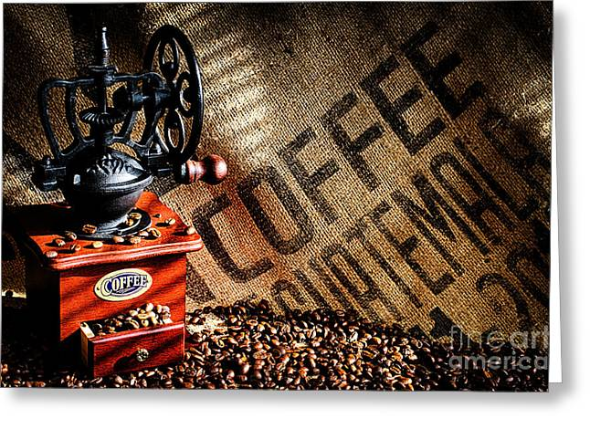 Coffee Beans And Grinder Greeting Card by Danny Hooks