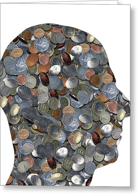 Coins In The Shape Of A Human Head Greeting Card by Victor De Schwanberg