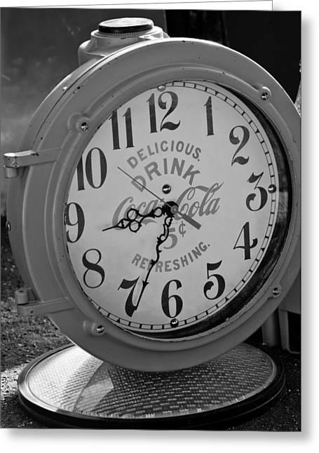 Coke Clock Greeting Card by Jill Reger