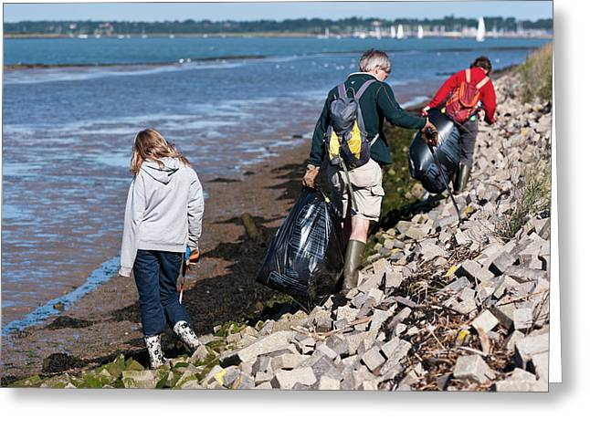 Collecting Litter Greeting Card by Matthew Oldfield