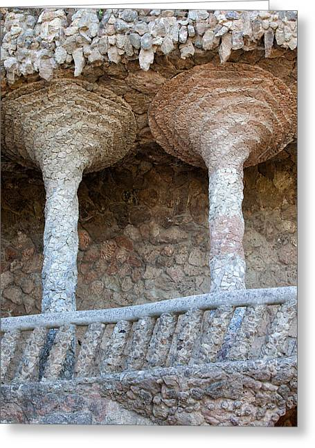 Colonnaded Terrace By Antoni Gaudi In Park Guell Greeting Card by Artur Bogacki
