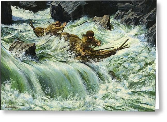 Overcurrent - Frontiersmen In Canoe In Wild Rapids Greeting Card by Don  Langeneckert