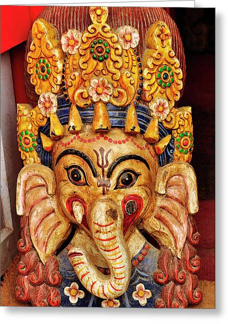 Colorful Cultural Masks Made Of Papier Greeting Card by Jaina Mishra