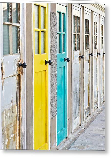 Colorful Doors Greeting Card by Tom Gowanlock