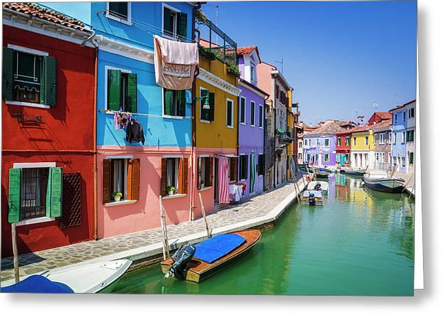 Colorful Houses And Canal, Burano Greeting Card