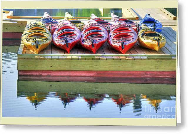 Colorful Kayaks Greeting Card by Brenda Giasson