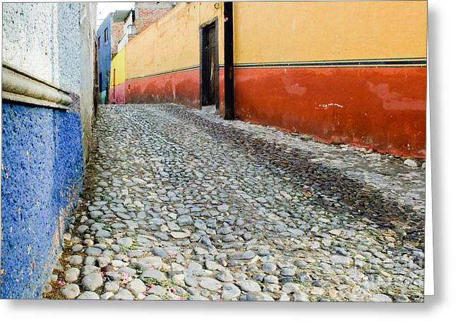 Colorful Mexican Town Greeting Card by Oscar Gutierrez