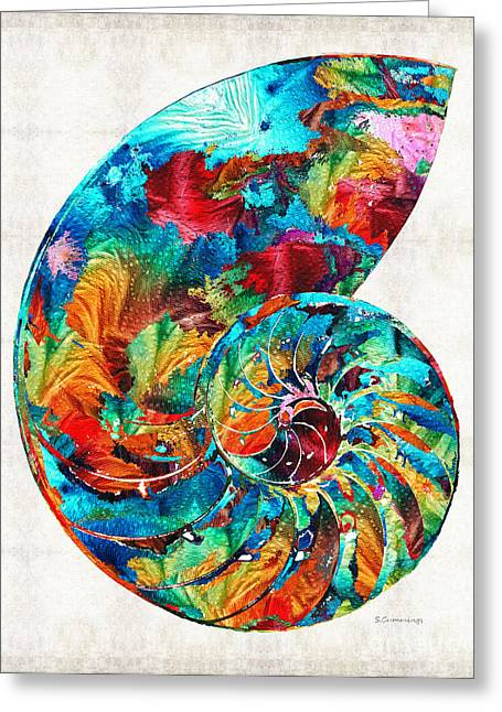Colorful Nautilus Shell By Sharon Cummings Greeting Card by Sharon Cummings