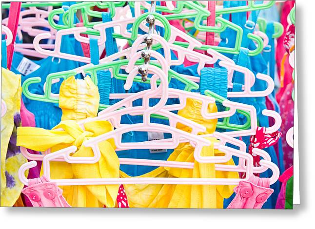 Colorful Tops Greeting Card by Tom Gowanlock