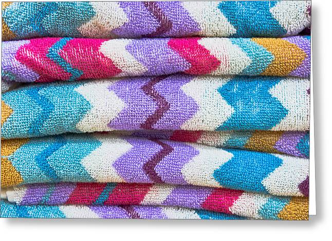 Colorful Towels Greeting Card by Tom Gowanlock