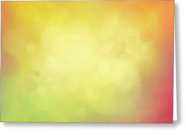 Colorful Yellow Bokeh Background Greeting Card by Mythja  Photography