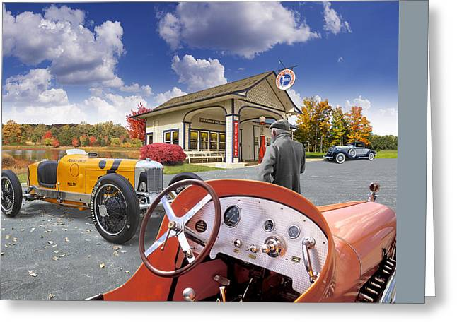Greeting Card featuring the digital art Colors Of Autumn Vintage Standard Oil Station by Ed Dooley