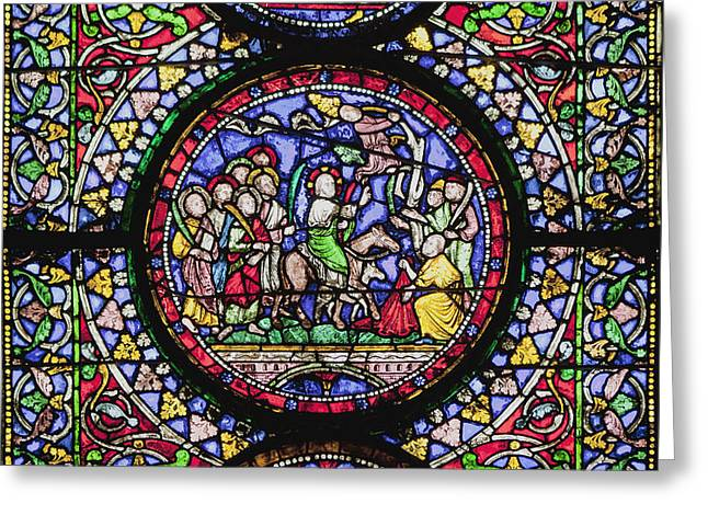 Colourful Stained Glass Window In Greeting Card