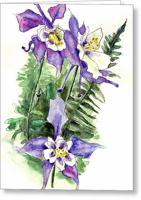 Columbine Flowers Art Greeting Card